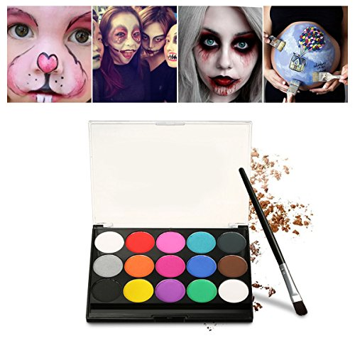 Make Kinder Set Für Up (Halloween Schminke Make Up Kit, Kinderschminke Eulenspiegel 15 verschiedene Farben Profi Palette Ideal für Kinder, Parties, Bodypainting Halloween)