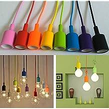 Neverland 8 Farbe E27 Silikon Edison Pendelleuchte Hngeleuchte Lampenaufhngung DIY Lampe Lampenhalter Lampensockel 100cm Cord Fr