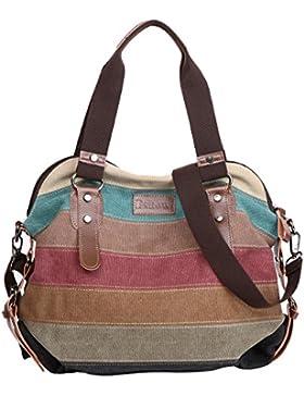 [Sponsorizzato]Eshow Borsa Donna Multicolore alla Moda Vintage Retro di Tela Canvas a Mano a Spalla per Uso Quotidiano Viaggio...
