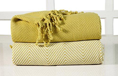 EHC Tagesdecke Luxus Chevron Baumwolle Single Sofa Überwurf Decke, gelb, 2Stück, 125x 150cm