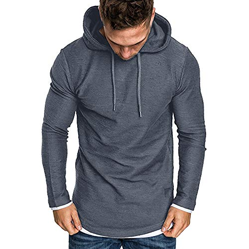 ZIYOU Langarm Kapuzenpullover Herren, Herbst Winter Casual Sport Sweatshirt Hoodies Top Hemd Trainingsanzüge Streetwear Pullover(2XL,Dunkelgrau)