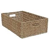 Junco marino cestas de almacenamiento de mimbre, para, de cajón rectangular largo, natural, Large - L 56 x W 36 x H 17cm