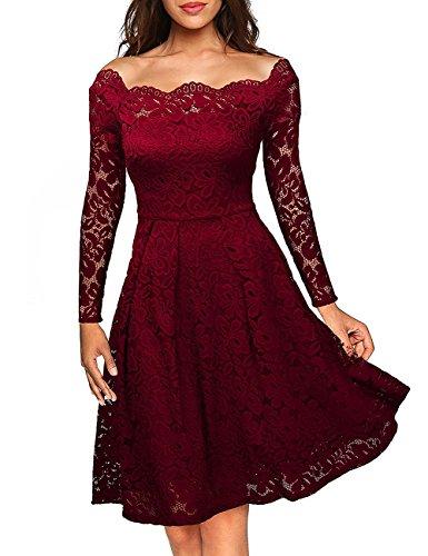 dragonpad-womens-long-sleeve-sexy-straight-collar-dress-elegant-lace-v-neck-casual-dress-red-xl