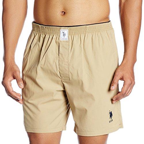 US Polo Association Men's Plain Cotton Boxer (8907686184692_I108_Khaki_Large)