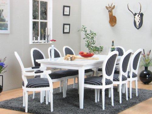 Paris, 11-Teilige Essgruppe mit Rokoko Stühlen, weiss inkl. 2 x Zusatzplatten, Bezug beige,...