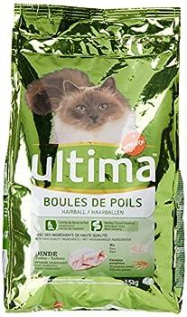 Ultima Croquettes pour Chat Adulte Contrôle des Boules de Poils Dinde et Riz 1,5 kg