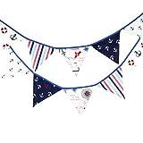 12Flaggen 3,2m blau Stoff Banner Piraten Wimpelkette Decor Hochzeit Weihnachten Geburtstag, Baby Dusche Foto Requisiten Pennant, Raum Dekoration Girlande