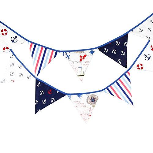 12Flaggen 3,2m blau Stoff Banner Piraten Wimpelkette Decor Hochzeit Weihnachten Geburtstag, Baby Dusche Foto Requisiten Pennant, Raum Dekoration Girlande (Piraten-baby-dusche Dekorationen)