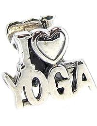 Queenberry Mother's Day Gift I Love Yoga en argent Sterling 925 pour Bracelets de type Pandora, Troll, Chamilia et Biagi Bracelets européens