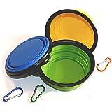 Comsun Hundenapf, Hundennäpfe, 3er Hundeschüssel Set, faltbar,Napf mit Schnalle, Nahrungsmittelgrad-Silikon, Dog Bowl, Futternapf Reisenapf Wasserschale, für alle Hunde, Katzen, Haustier, Grün+Blau+Gelb
