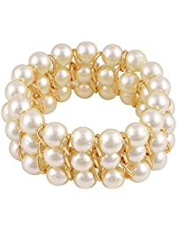 DzineTrendz Gold Plated Wired, Basra White Fresh Water Round Pearls,Triple Line Stretch Elastic Free Size Bracelet...