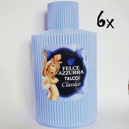 6 x Paglieri Felce Azzurra TALCO Classico Poudre pour le corps TALC Poudre Talc 150 g