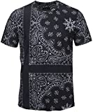 Pizoff Unisex Schmale Passform T Shirts mit 3D Kontrast Bandana Paisley Digital Print Muster und Seit Reissverschluss Y1778-03-M