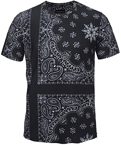 Pizoff Unisex Schmale Passform T Shirts mit 3D kontrast bandana paisley Digital Print Muster und Seit reissverschluss Y1778-03-S (Paisley Shirts Print)