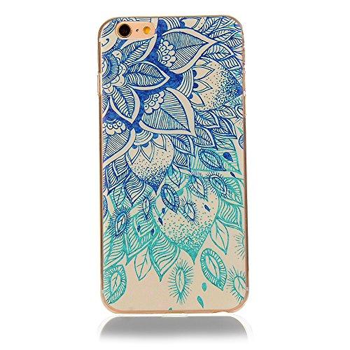 Custodia Cover per iPhone 6/6s, Cover Silicone Morbido Trasparente Protective Case TPU Gel Ultra Sottile Cassa Protettiva Design per iPhone 6/6s - Cielo Colorato Foglie fortunate