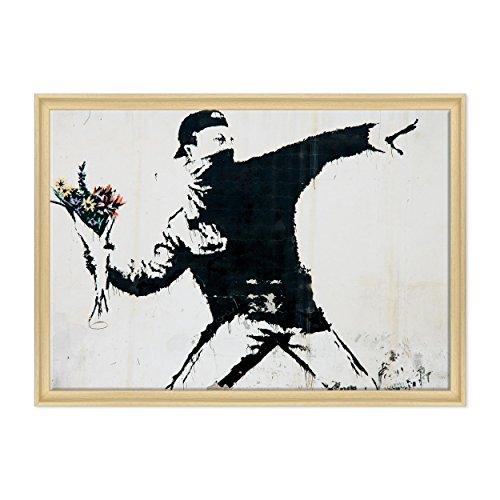 Bild auf Leinwand Canvas-Gerahmt-fertig zum Aufhängen-Banksy-Kunst Street Art-Launcher von Blumen Dimensione: 70x100cm C - Colore Legno Naturale Contemporaneo