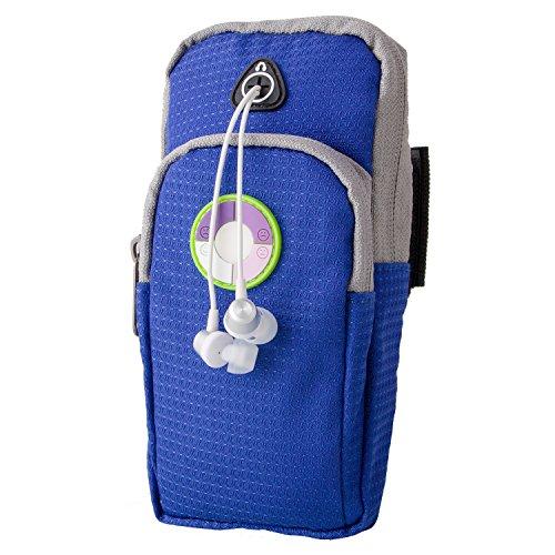 Milool UV-Test-Intensität:-4 Smileys zeigen an,Sportarmband Handytasche Armtasche für iPhone Smartphone und alle nicht größer als 5.0-6 Zoll gerät, Safey Design, geeignet für Gymnastik,Jogging,Rad fahren,Kanusport,Wandern,Reiten,Golf, Einkaufs,Downhill & Langlaufen,Hausarbeit und mehr(Blau)