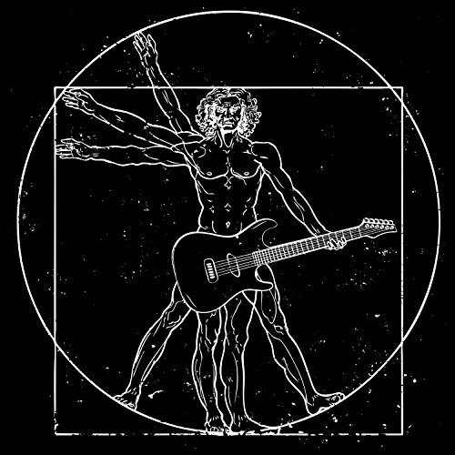 Fashionalarm Herren T-Shirt - D. Vinci Guitar Man | Fun Shirt als Geschenk Idee für Musiker Da Schwarz