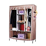 Evana 4.1 Feet Creative Cabinet Easy Installation Folding Wardrobe Cupboard Almirah Foldable Storage Rack Collapsible Cloths Organizer (Brown)