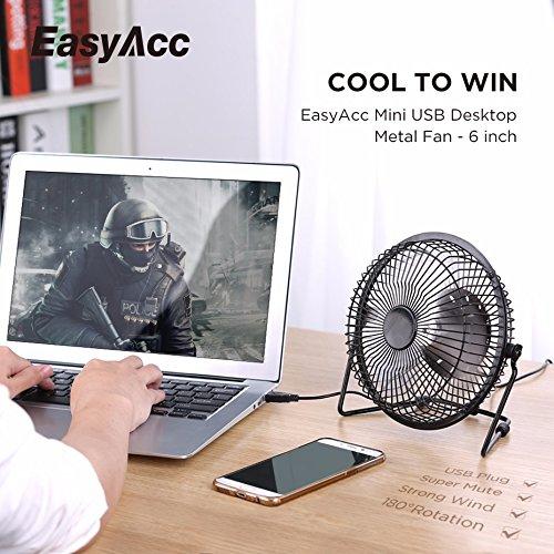 EasyAcc 6 Zoll USB Ventilator Mini Lüfter für den Schreibtisch