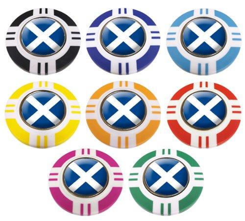 Schottland CRESTED Vegas Style Poker Chip Golf Ball Marker. Marineblau außen.