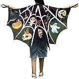 WOZOW Damen Schmetterling Kostüm Fasching Schals Nymphe Pixie Poncho Umhang für Party Cosplay Karneval Fasching (schwarz gemustert)