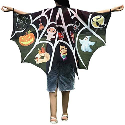 Junjie Kinder Jungen Mädchen Chiffon Böhmischen Frauen Männer Halloween Print Eins Schal Kostüm Zubehör Schmetterling Blumen Print Schal Pashmina Kostüm Größe: 145 * 88cm