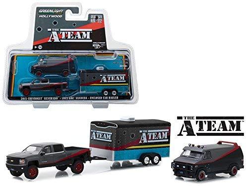 A-Team Set 3 Modelos Car Van GMC VANDURA y Pickup con Remolque Escala 1:64 Greenlight