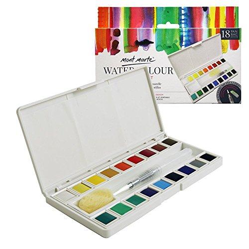 Mont Marte Set Acquarelli - 18 Colori Brillanti - Include Water-Brush e Tazza in Ceramica - Alta Pigmentazione - Ideale per la Pittura ad Acquerello - Perfetto per Principianti e Professionisti