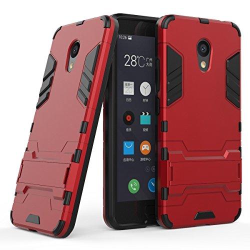"""MOONCASE Meizu M5C Custodia, Dual Layer Hybrid Armatura Defender Cover Ultra Slim Antiurto con Supporto Bumper Protezione Case per Meizu M5C/Meizu Meilan 5C 5.0"""" Red"""