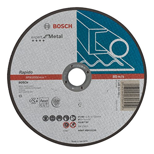 Bosch 2608603399 Disque à tronçonner à moyeu plat expert for metal rapido AS 46 T BF 180 mm 1,6 mm