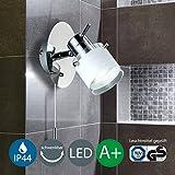 Lámpara de pared LED para Baño, orientable, protegida contra salpicaduras IP44,Interruptor de cordón, lámpara de foco, GU10,5W, 400 LM, blanco cálido, color blanco y cromado