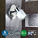 LED Bad Wandleuchte Wandlampe schwenkbar spritzwasser geschützt IP44 Zugschalter Badlampe