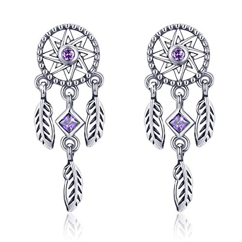 Forever queen dreamcatcher orecchini pendenti, orecchini in argento sterling 925 con cristalli viola regalo per ragazze