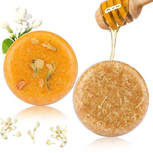2PCS Barre de Shampooing, Phogary Savon pour cheveux (Jasmin + miel) Divers parfums...
