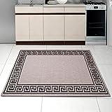 Teppich SISAL Optik in Silber - Modern Küche Flachgewebe Küchenteppich - Griechisch Muster Kaffee - Sehr Robust Öko-Tex