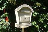 HBK-RD-HELLGRAU Briefkasten aus Holz hell grau weiss weiß amazon silbergrau Briefkästen Holzbriefkästen Postkasten Runddach - passt auch zu vielen Vogelhäusern Vogelhaus Insektenhotel Insektenhotels Vogelhäuser aus Holz Ergänzung für Vogelhäuschen und Vogelfutterhaus Nistkasten Meisenkasten mit echt Holzschindel