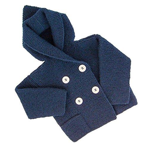 Babykleidung Honestyi Kleinkind Kinder Jungen Mädchen Kleidung Knopf mit Kapuze Strickpullover Strickjacke Mantel Tops (Marine,M/110)