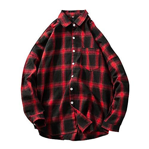Herren Pullover,TWBB Gitter Mantel Mantel Outwear Mit Knopf Herbst Winter Lange Ärmel Jacke Hemd