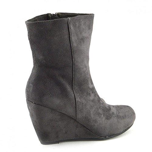 Kick Footwear - Womens stivali donne scarpe di alta alla caviglia zeppe tacchi smart zip up bootie nuova dimensione Grigio