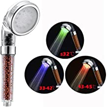 Cisixin 3 Color del LED Teleducha con Efecto Lluvia y Control Sensible a la Temperatura, 3 colores control temperatura Spa filtro grifo