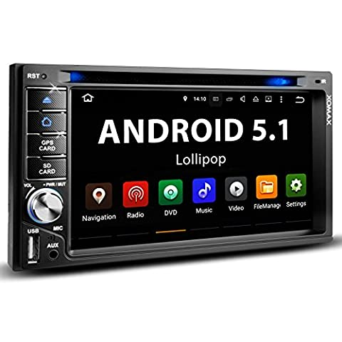 XOMAX XM-2DTSBN6223A Autoradio mit Android 5.1 Lollipop + Mirror Funktion für Smartphone + GPS Navigation + 3G und WiFi / W-LAN Funktion über Handy + Bluetooth Freisprechfunktion & Musikwiedergabe + 6,2 Zoll / 15,5 cm Touchscreen Bildschirm + MP3-Audio und Video über USB Anschluss (bis 2 TB) & Micro SD Slot (bis 128 GB) + 16 GB Interner Speicher + DAB+ und OBD Ready + Anschlüsse für Rückfahrkamera, Lenkradfernbedienung und Subwoofer + Doppel DIN / 2 DIN Standard Einbaugröße inkl.