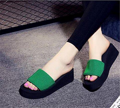 Summens Femmmes Neuf Tongs Flops pente avec des sandales Vert