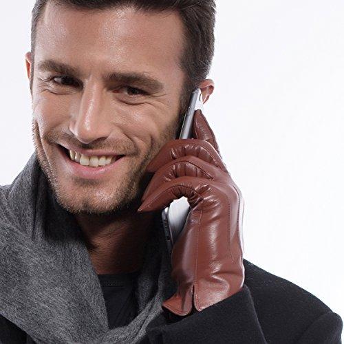 MATSU Luxe hommes d'hiver chaud gants en cuir d'agneau M1006 - Red brown-Non TouchScreen