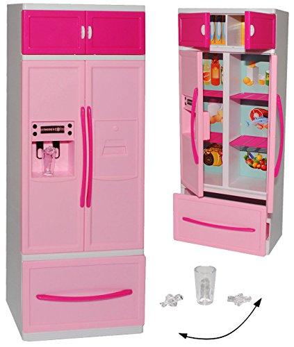 Preisvergleich Produktbild Kühlschrank mit Eiswürfelspender / Gefrierschrank - für Puppenhaus - Miniatur für Puppenstube - passend für alle gängigen Modepuppen - Plastik / Kunststoff rosa - Puppenhausmöbel - Küche - Möbel - Miniatur Diorama - Küchenmöbel - Gefrier-Kombination - Puppenküche / Puppenzubehör - Modepuppe
