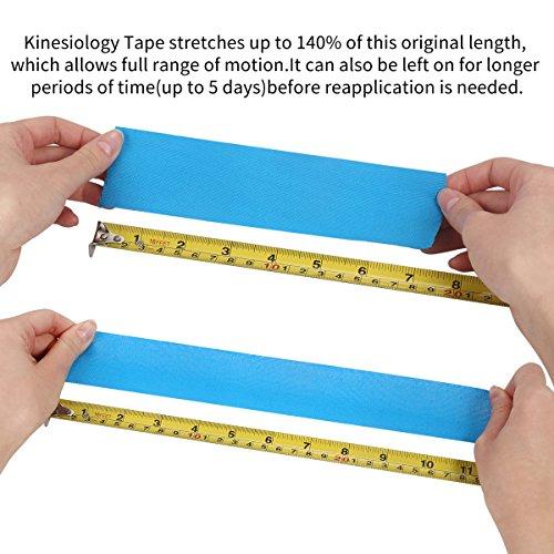 2 Rollen Physio Tape Kinesiologie Tape, Aollop Muskeln Kinesiology sport vorgeschnitten 5m x 5cm(16.4 Fuß x 2 Zoll) Rollenlänge Elastisches Therapeutisches sport verletzungen Tape elastische Bandage für Plantarfasziitis Physiotherapie, Knöchel, Knie,Rücken, Nackenschmerzen Nacken .Muskel und Gelenk Tape (1Blau+1Schwarz) - 6