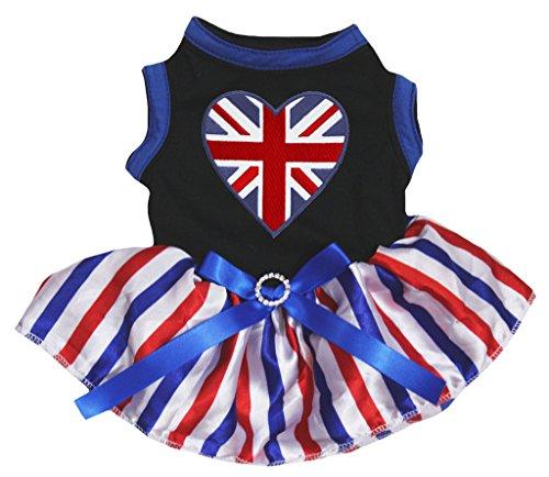 petitebelle Puppy Kleidung Hund Kleid British Heart schwarz Top Design RWB Streifen Tutu