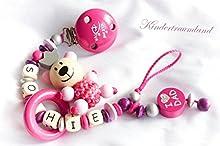 Cadena para chupete con nombres, oso, oso, I Love Dad, niña, Kleine Diva, color rosa