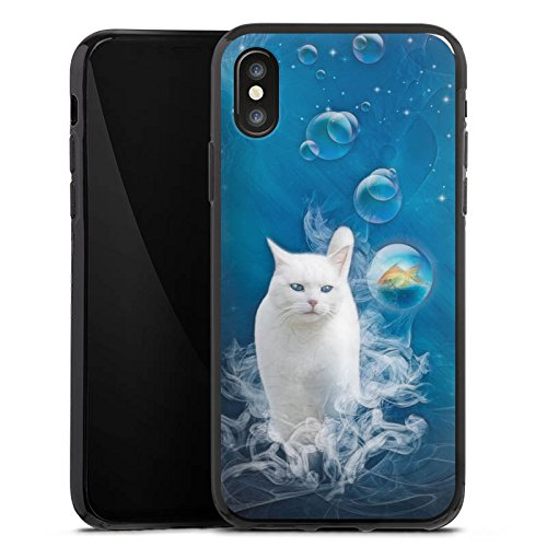 Apple iPhone X Silikon Hülle Case Schutzhülle Katze Fisch Blasen Silikon Case schwarz