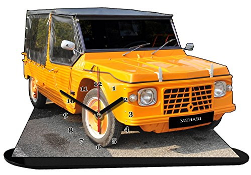 VOITURE CITROEN MEHARI ORANGE EN HORLOGE MINIATURE SUR SOCLE 03